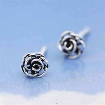 【米蘭精品】925純銀耳環耳針式耳飾時尚玫瑰花精選73ag70