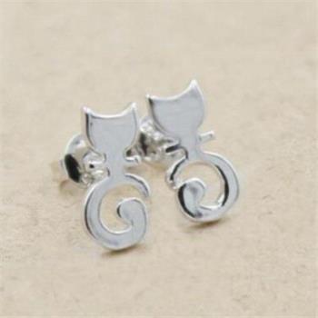 【米蘭精品】925純銀耳環耳針式耳飾可愛小貓咪時尚73ag104