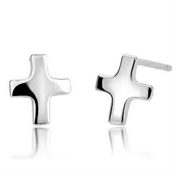 【米蘭精品】925純銀耳環耳針式耳飾十字架時尚百搭73ag141