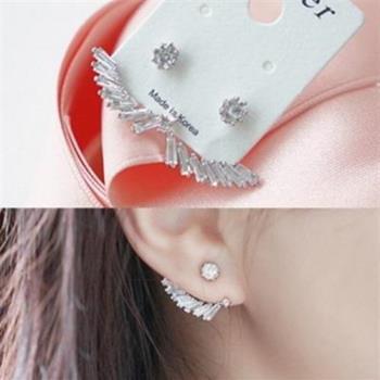 【米蘭精品】925純銀耳環鑲鑽耳飾後掛式精美時尚熱銷3色73ag176