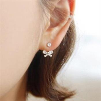 【米蘭精品】925純銀耳環鑲鑽耳飾甜美蝴蝶結後掛式時尚3色73ag179
