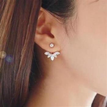 【米蘭精品】925純銀耳環鑲鑽耳飾後掛式高貴優雅精美3色73ag180