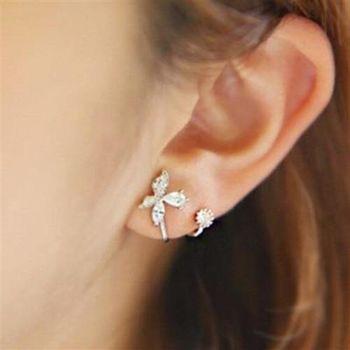 【米蘭精品】925純銀耳環鑲鑽耳飾精美蝴蝶後掛式時尚優雅2色73ag200