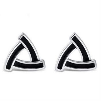【米蘭精品】925純銀耳環耳針式耳飾時尚幾何三角形73ag203