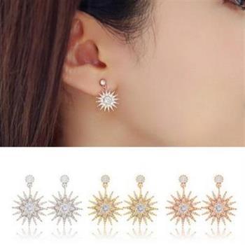 【米蘭精品】925純銀耳環鑲鑽耳飾韓版時尚精美太陽精緻3色73ag205