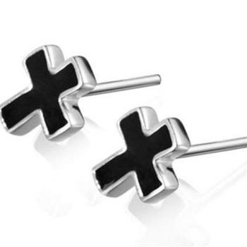 【米蘭精品】925純銀耳環耳針式耳飾十字架百搭個性73ag233