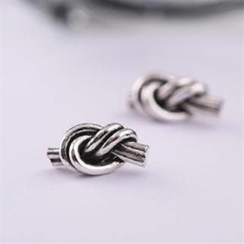 【米蘭精品】925純銀耳環耳針式耳飾雙繩結73ag240
