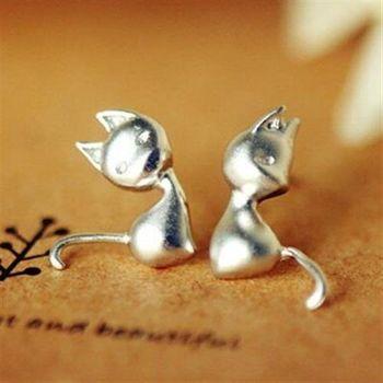 【米蘭精品】925純銀耳環耳針式耳飾時尚精選貓咪73ag264