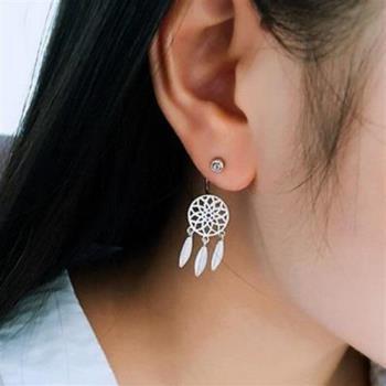 【米蘭精品】925純銀耳環鑲鑽耳飾後掛式捕夢網時尚73ag272