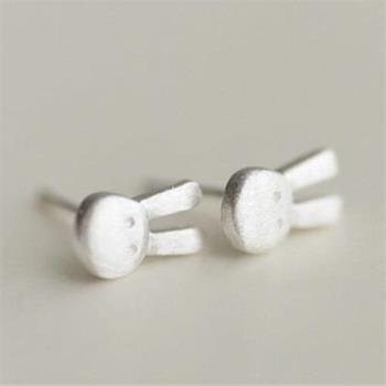 【米蘭精品】925純銀耳環耳針式耳飾可愛小兔子時尚73ag301