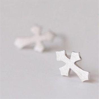 【米蘭精品】925純銀耳環耳針式耳飾歐美時尚十字架百搭73ag333
