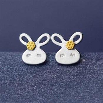 【米蘭精品】925純銀耳環耳針式耳飾甜美可愛小兔子時尚73ag334