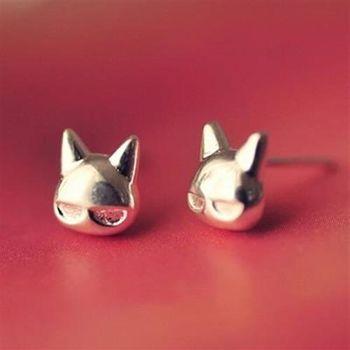 【米蘭精品】925純銀耳環耳針式耳飾可愛小貓咪時尚73ag341