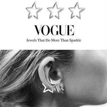 【米蘭精品】925純銀耳環耳夾式耳飾歐美時尚經典星星73ag351