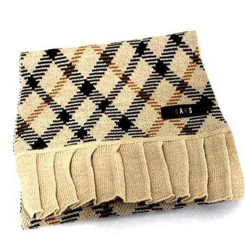【DAKS】經典格紋長圍巾(卡其色)