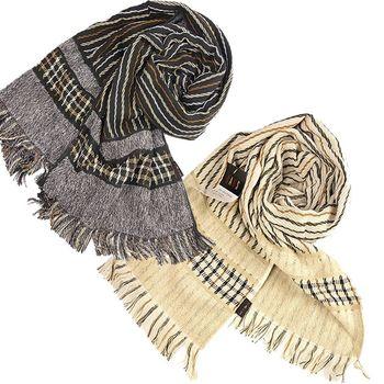 【DAKS】經典格紋100﹪純棉長圍巾(2色)