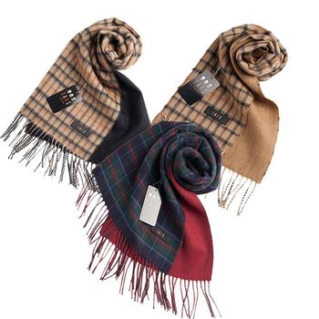 【DAKS】經典格紋羊毛圍巾(3色)