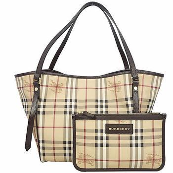 BURBERRY 新色戰馬格紋手提/肩背水桶包-咖啡-附可拆小袋