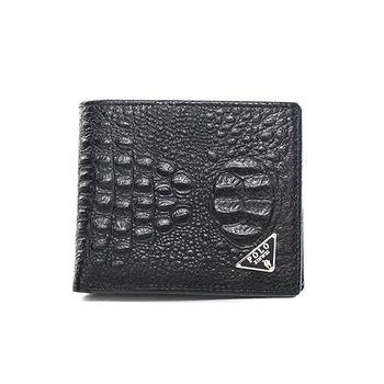 XINWEI POLO 英式設計質感鱷魚壓紋小牛皮短夾-大-86343-B