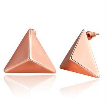 【米蘭精品】純銀耳環鍍18K金耳飾簡約三角形時尚百搭3色73cg93