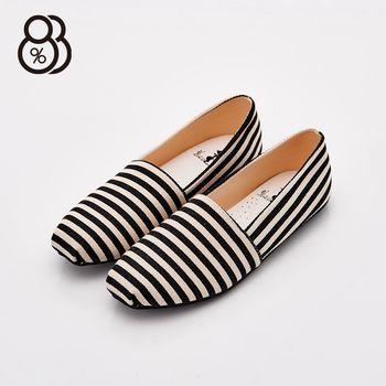 【88%】MIT台灣製 簡約線條紋 斑馬紋 平底休閒鞋 豆豆底 懶人鞋 輕便鞋 2色