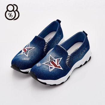 【88%】歐美街頭牛仔布 星星伸縮帶 厚底3.5cm 帆布鞋 休閒鞋 懶人鞋 3色