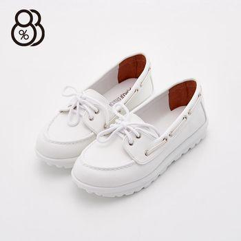 【88%】MIT台灣製 韓系 車縫線造型 厚底3.5cm 包鞋 鬆糕鞋 懶人鞋 小白鞋 2色