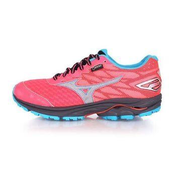 【MIZUNO】RIDER 20 G-TX 女越野慢跑鞋-GORE-TEX 美津濃 粉橘藍