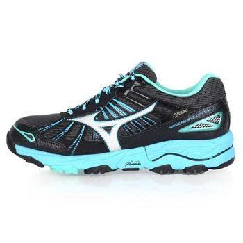 【MIZUNO】MUJIN 3 G-TX 女越野慢跑鞋-GORE-TEX 美津濃 黑水藍湖水綠