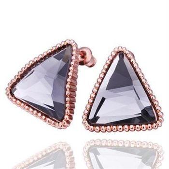 【米蘭精品】純銀耳環鍍18K金水晶耳飾時尚簡約百搭三角形73cg69