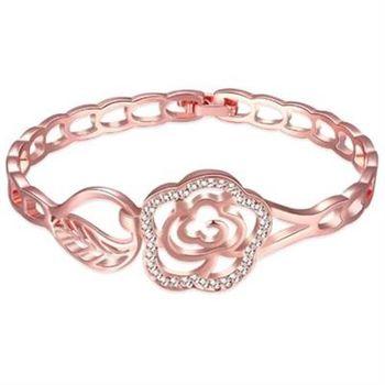 【米蘭精品】純銀手鍊鍍18K金鑲鑽手環優雅花朵時尚氣質73cd87
