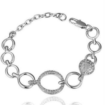 【米蘭精品】純銀手鍊鍍白金鑲鑽手環時尚百搭優雅細緻73cd89