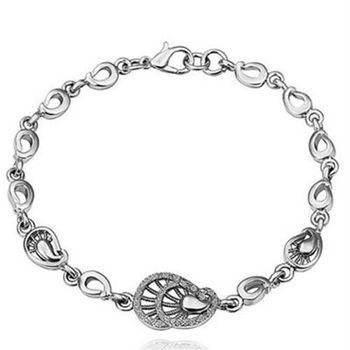 【米蘭精品】純銀手鍊鍍白金鑲鑽手環優雅氣質時尚精美73cd77