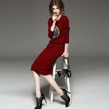 【M2M】貓頭鷹釘珠針織上衣中長裙兩件套(共二色)