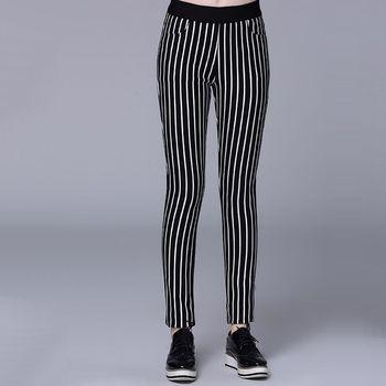 【KVOLL中大尺碼】黑白直條紋鬆緊刷毛長褲