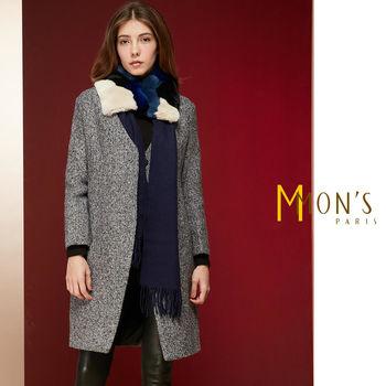 MONS優雅時尚多色塊拼接兔毛長羊毛圍巾