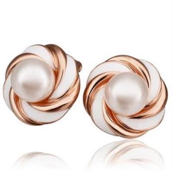【米蘭精品】純銀耳環鍍18K金珍珠耳飾優雅氣質精選時尚73cg20