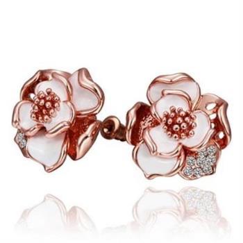 【米蘭精品】純銀耳環鍍18K金鑲鑽耳飾時尚高雅精緻玫瑰花2色73cg23
