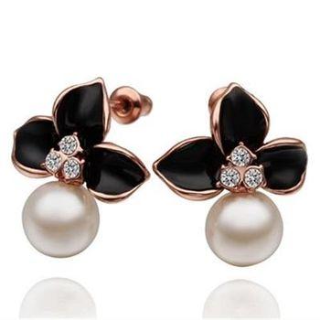 【米蘭精品】純銀耳環鍍18K金珍珠耳飾時尚優雅鑲鑽甜美73cg32