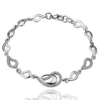 【米蘭精品】純銀手鍊鍍白金鑲鑽手環時尚優雅精緻水滴73cd82