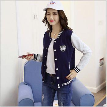 (現貨+預購 RN-girls)-韓版秋裝新品簡約立領修身百搭棒球外套