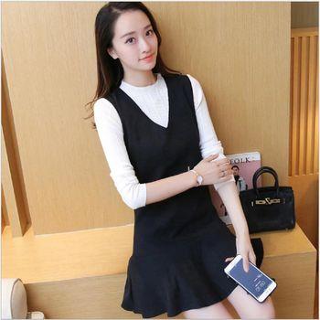 (現貨+預購 RN-girls)-韓國秋裝新款純色針織衫+V領背心荷葉下擺連身裙套裝