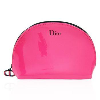 Dior 迪奧 桃紅亮皮化妝包