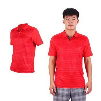 【NIKE】GOLF 男排汗提花針織POLO衫- 高爾夫球 短袖T恤 立領 條紋暗紅