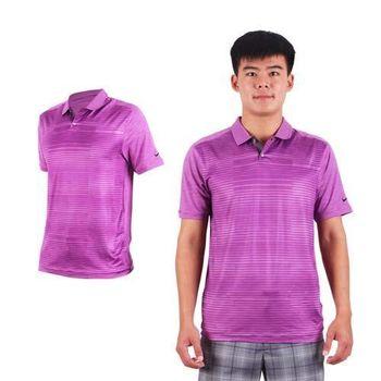 【NIKE】GOLF 男排汗提花針織POLO衫- 高爾夫球 短袖T恤 立領 深紫條紋