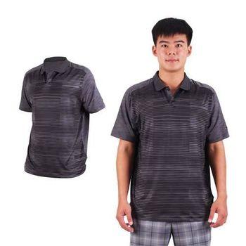 【NIKE】GOLF 男排汗提花針織POLO衫- 高爾夫球 短袖T恤 立領 深灰黑