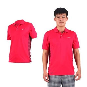 【NIKE】GOLF 男TW快速排汗條紋針織衫- 高爾夫球 POLO衫 短袖 紅銀