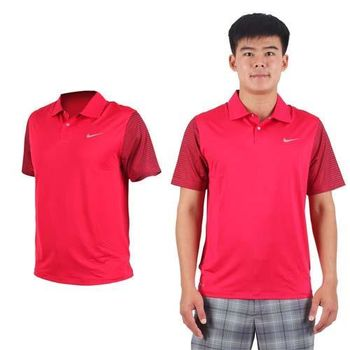 【NIKE】GOLF 男TW快速排汗短袖針織衫- 高爾夫球 POLO衫 立領 紅銀