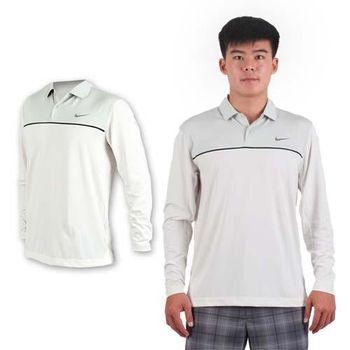 【NIKE】GOLF 男排汗長袖彈性針織POLO衫- 高爾夫球 立領 T恤 白黑灰