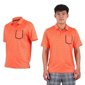 【NIKE】GOLF 男排汗短袖針織衫- 高爾夫球 POLO衫 立領 T恤 橘黑銀